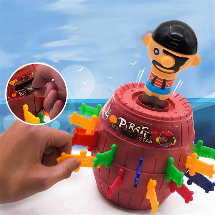 Novelty Anime Pirate Tricky Toy Children funny game ABS Piggy Bank Pirate Barrel Large size kids and adualt Insert Sword game bigger size soaked absorbent toy growing animals funny kids swell toy sea