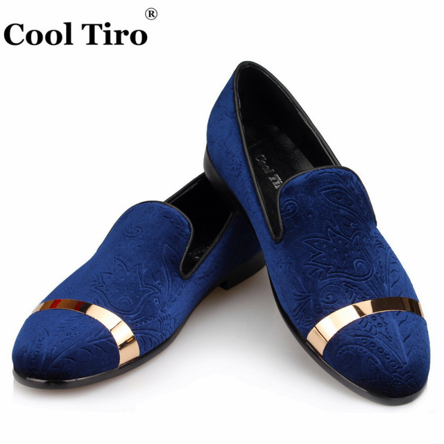 74f226791 Cool Tiro Dark blue printing Velvet Men Loafers Moccasins SmokingSlippers  Wedding Men Dress shoes Flats Casual