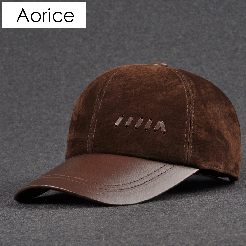 Aorice Genuine Leather Baseball Cap Mens Hats Caps Solid Color Brown Black Lea Autumn 2017 High quality Genuine Cowskin Caps aorice genuine leather baseball cap men hats and caps solid color brown black leather leisure fashion travel biker hl187