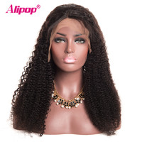 180% Density Full Brazilian Kinky Curly Wig Lace Front Human Hair Wigs Alipop Human Hair Wigs Pre Plucked Remy Lace Wig