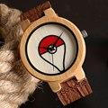 2016 Quente Esporte Pokemon Pokeball Madeira Natureza Minimalista de Couro Genuíno Cinta Banda Relógio de Pulso de Quartzo Pulseira De Bambu Artesanal