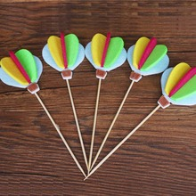 5pcs/set 3D Cute Colorful Hot Air Balloon Cake Toppers Engagement Birthday Decorations Figure Toys