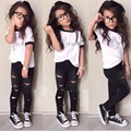 Fashion Girls summer kids clothes letter t shirt + hole cropped trouser grils Clothing set Vetement fille children clothing sets