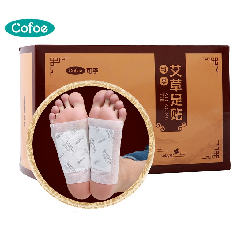 Cofoe 50 Patch Wormwood Ginger Herb Foot Sticker Detox Moxa Foot Patch Improve Sleep Foot Pad Chinese Herb Health Care Medicines