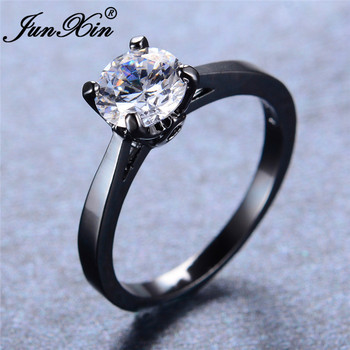 Женские круглые тонкие кольца JUNXIN, обручальные кольца с разноцветным цирконием черного, золотого, красного, синего, белого, розового цвета, ...