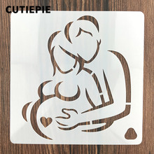 Husband Pregnant Wife Stencils For Painting Scrapbooking Stamp Cake Decorating Tool Embossing Paper Cards Album DIY Decoration