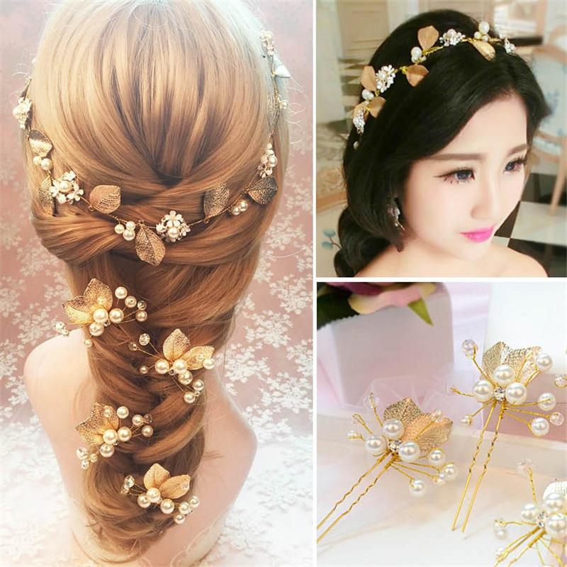 Handmade Gold Leaf Bridal Hair Pins And White Flower Tiara Bride