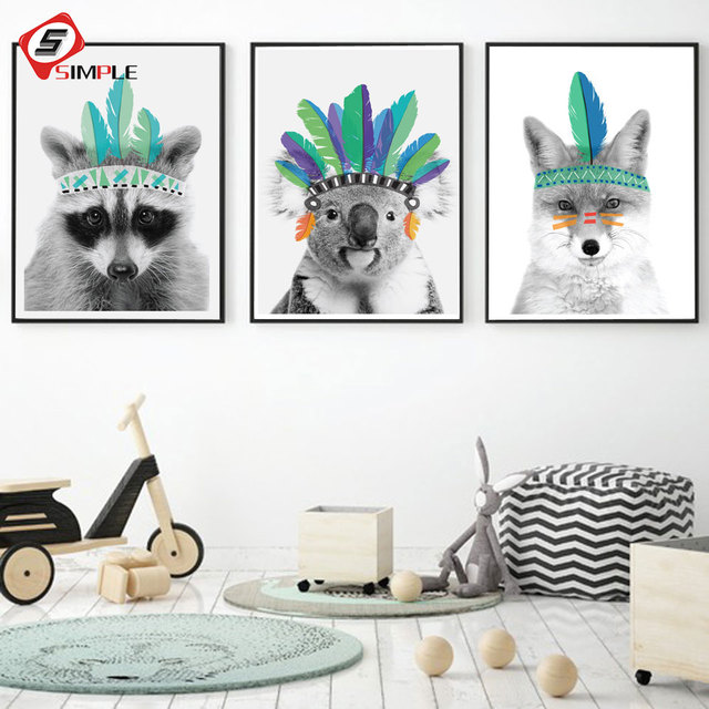 Poster Lion King Prints Feather Raccoon Beer Canvas Painting for ...