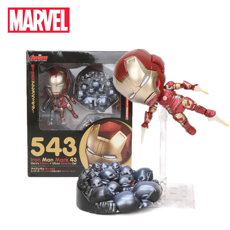 10cm Marvel Toys Avengers Age of Ultron Nendoroid 543 Ironman PVC Action Figure Mark 43 Hero's Edition Iron Man Collectible Mode(China)