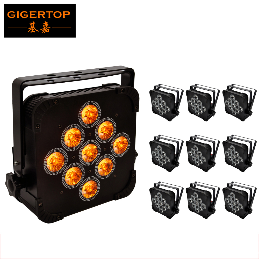 10XLOT Flat Slim 140W 5IN1 LED RGBWA 5IN1 Par Can Puck DMX 5/9CH Control DJ Stage Washer Light 15Wx9 Uplighting Hanging bracket 10 light 1 charging road case remote control 6pcs 15w rgbwa 5in1 battery powered wireless dmx led uplighting