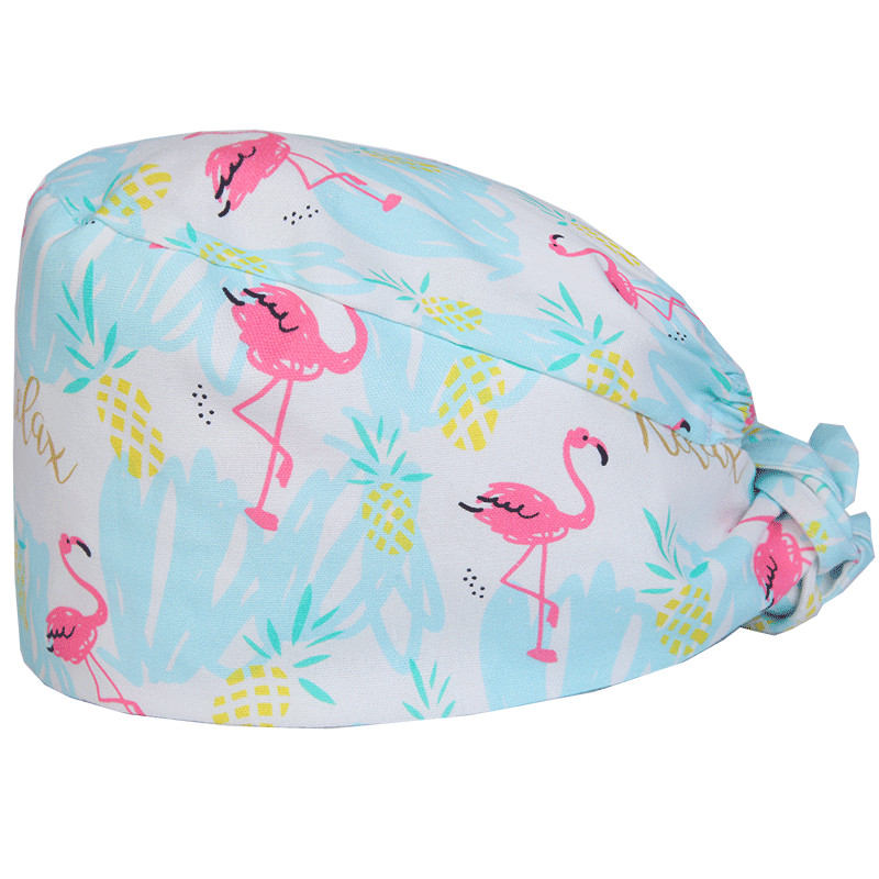 Flamingo Surgical Cap Nurse Medical Hats Female Male Cotton Adjustable Operating Room Work Hat Skull Surgery Skull Cpas