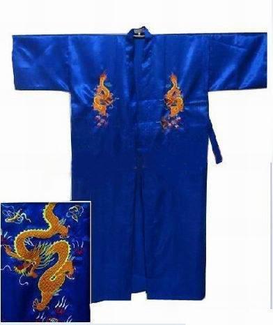 Venda quente Azul dos homens Chineses de Cetim de Seda Bordado Robe Kimono Bath Vestido Dragão TAMANHO M L XL XXL 3XL S0103-3