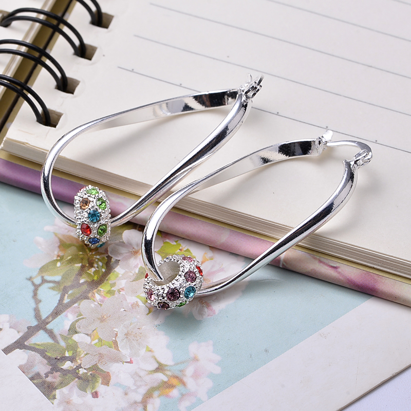 Popular Basketball Wives Hoop Earrings High Quality Silver Women Ladies Jewelry Colorful Crystal Bead Pendant Earring YPE086