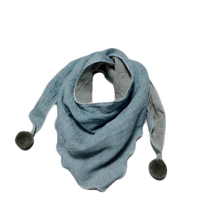 Весенние клетчатые треугольные шарфы в горошек для маленьких девочек; осенне-зимняя шаль для мальчиков и девочек; Детские хлопковые воротники; теплый детский шейный платок - Цвет: light blue