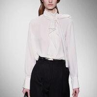 Настоящее Новое поступление, обычная однотонная Повседневная шифоновая спандекс, Blusas Femininas блузка, женские рубашки, шелковая рубашка, ворот