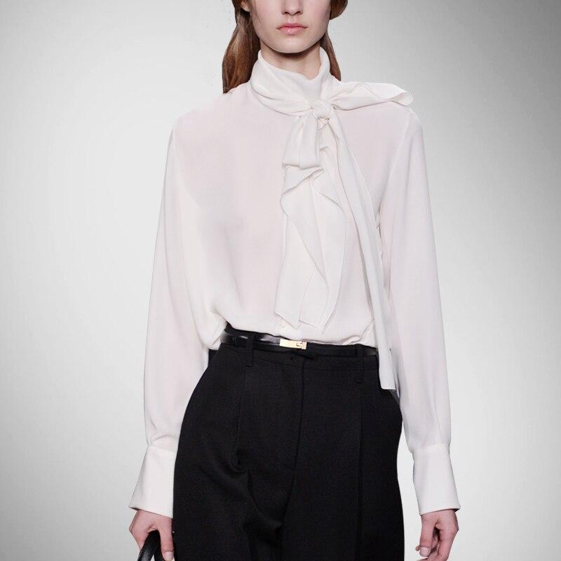 Véritable nouveauté régulière solide décontracté en mousseline de soie Spandex Stand Blusas Femininas Blouse femmes chemises en soie chemise col veste