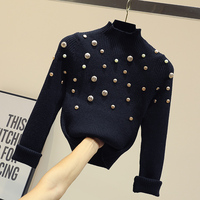 Turtleneck Sweater Wmen's Fashion Bead Button Sweaters Pullovers Female Temperament Fall Winter Knitting Undercoat Basic Coatx