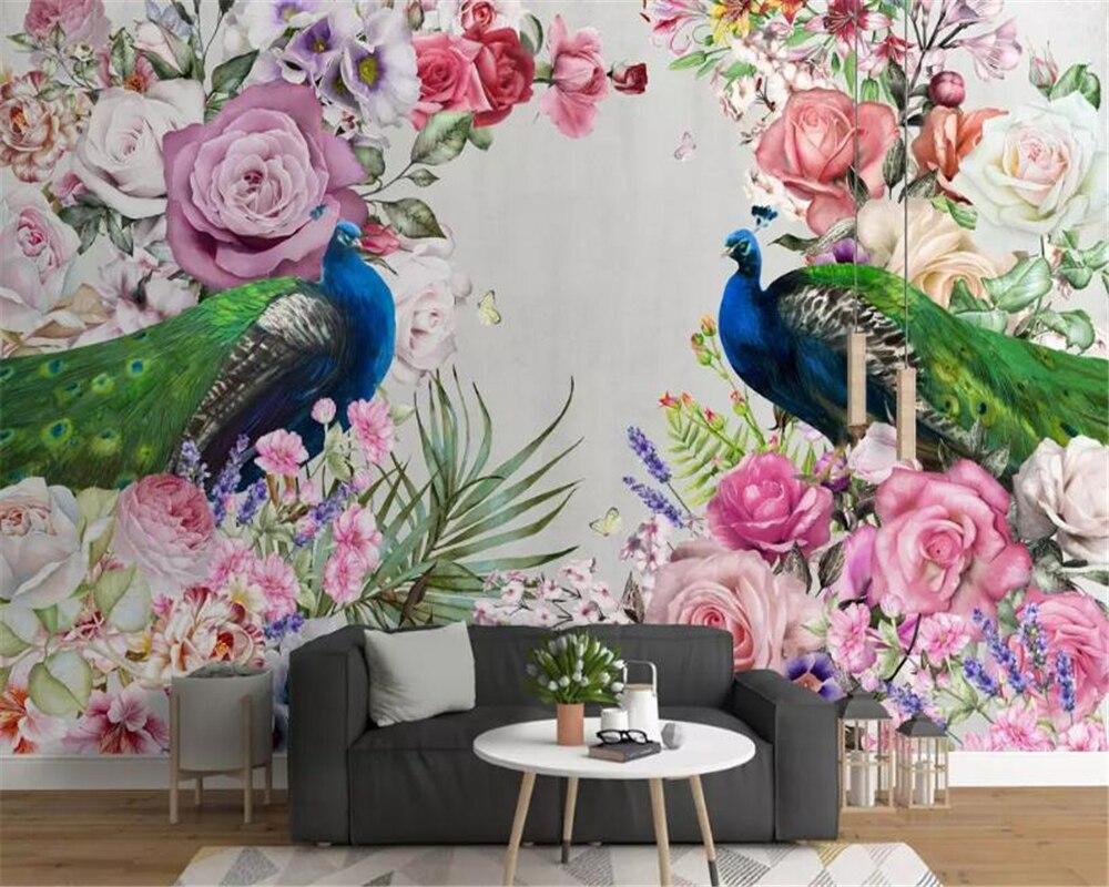 Beibehang Vinyl Wall Modern Art Hand Drawn Peacock Flowers Floral