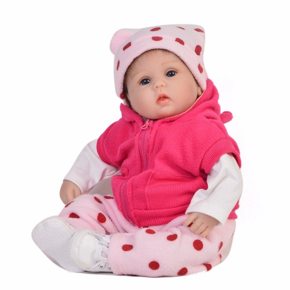 43 cm Silicone Reborn Bébé Poupée avec 1 pièces Dot chapeau Enfants Playmate Cadeau Filles Infantile Vivant bricolage Jouets pour Poupée fille Bebe Reborn Jouets