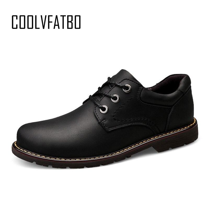 COOLVFATBO décontracté qualité en cuir véritable bottes hommes noir hommes bottes hommes Dr Martins hommes chaussures de travail chaussures de sécurité Plus Size38-47