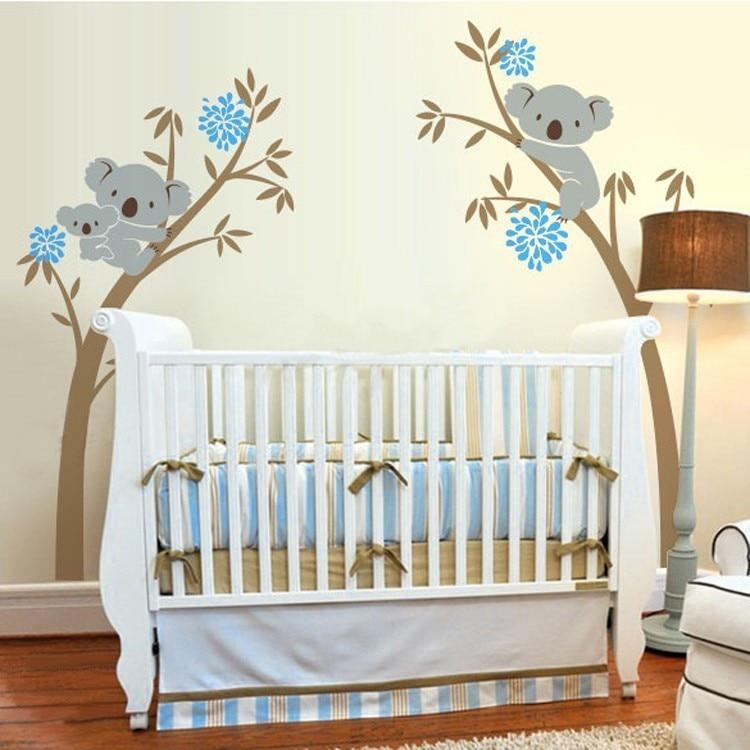Koala ours vinyle Stickers muraux arbre autocollant pour bébé pépinière chambre décoration décor salon bébé enfants chambre affiche D647C