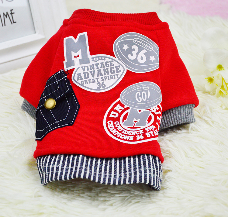 Winter Dog Clothes Cat Christmas Letter Pocket Hoodies