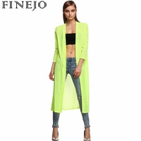 FINEJO Stylish Ladies Solid Open Front Sides Split Loose Beach Cover Up Long Coat Outwear Top