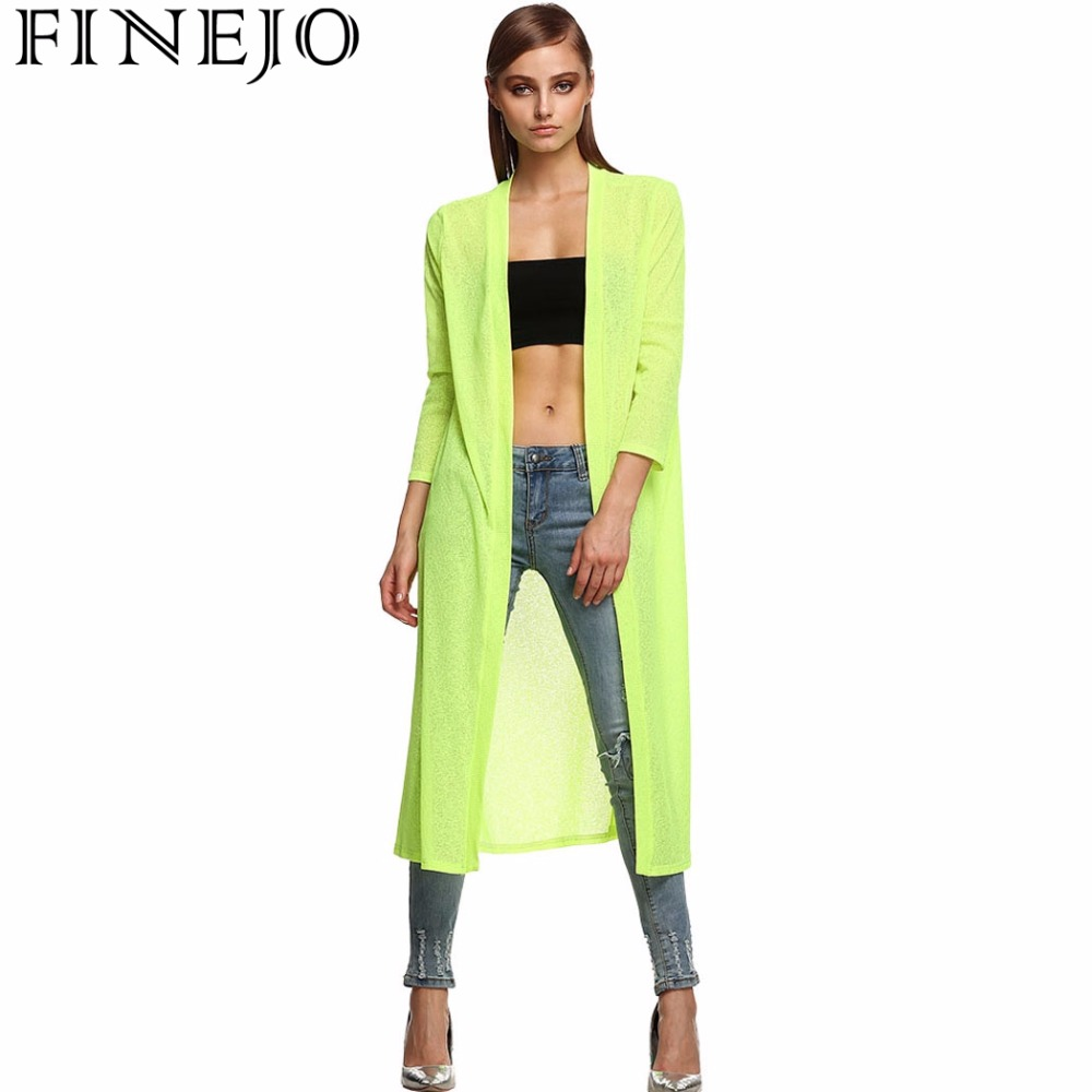 FINEJO Fashion Stylish Ladies Long Blouse Shirts Summer Solid Open Front Sides Split Loose Beach Cover Up Outwear Women Top
