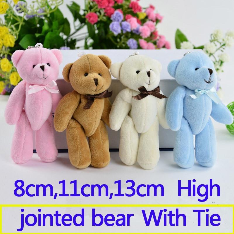50 Stücke 8 Cm, 11 Cm Kleine Gemeinsame Teddybär Plüsch Spielzeug Kid Partei Mini Anime Anhänger Schlüssel Ketten Valentinstag Tasche Keychain Puppe