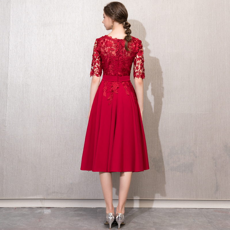 Robe De Soiree New Lace Slim Vestido De Festa Evening Dress O-Neck Tea-Length Plus Size Party Prom Formal Dress Women Elegant