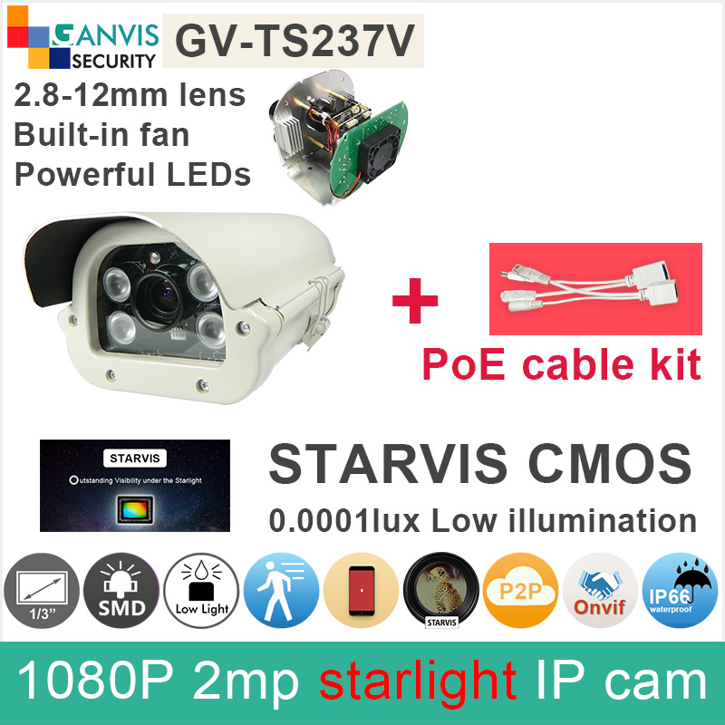 0.0001lux SONY IMX291 STARVIS CMOS Full HD IP camera 2mp 1080P 2.8-12mm outdoor CCTV camera with PoE cable GANVIS GV-TS237V pk sony starvis built in heater poe cable kit ip camera 1080p full hd 2mp starlight cctv camera outdoor dome ganvis gv ts255vh pk