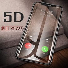 5D Tempered Glass For iPhone 6 6S 7 8 Plus Full Cover Screen Protector Protective On The For iPhone X XS Max XR 8 5 SE 5S Glass(China)