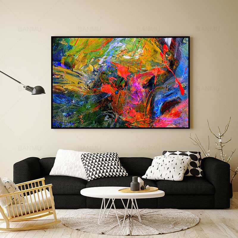 Canvas painting art prints poster abstract wall picture colourful oil painting photo for living room home decoration no frame