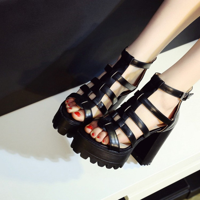 0cd548172e46 PXELENA Square Chunky Block High Heels Gladiator Sandals Women Cut Out  Thick Platform Punk Rock Gothic