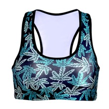 NEW 0062 Summer Sexy Girl Women maple leaf weeds 3D Prints Padded Push Up Gym Vest Top Chest Running Sport Yoga Bras