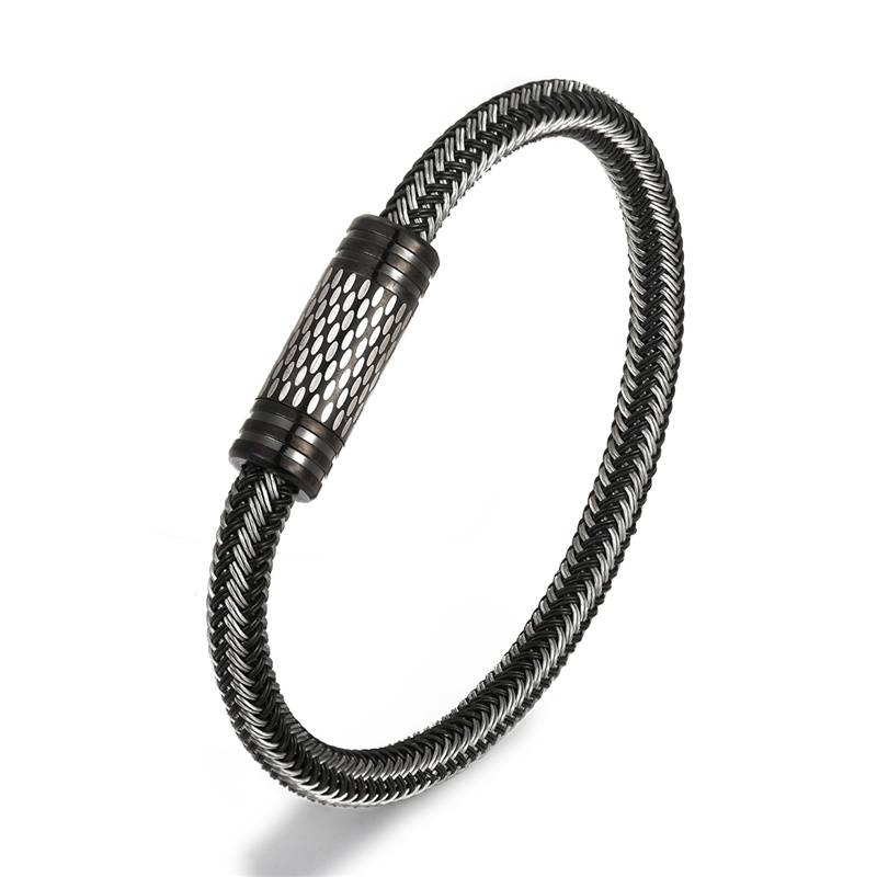 NEW Fashion Black and white Braided Steel Wire Bracelet Magnetic Buckle Simple Style Wristband Men Stainless Steel Bracelet Male