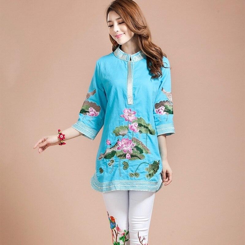 Nouveau chemisier femme printemps automne Tang costume traditionnel chinois haut col Mandarin coton lin Cheongsam Blouse Style chinois haut - 4