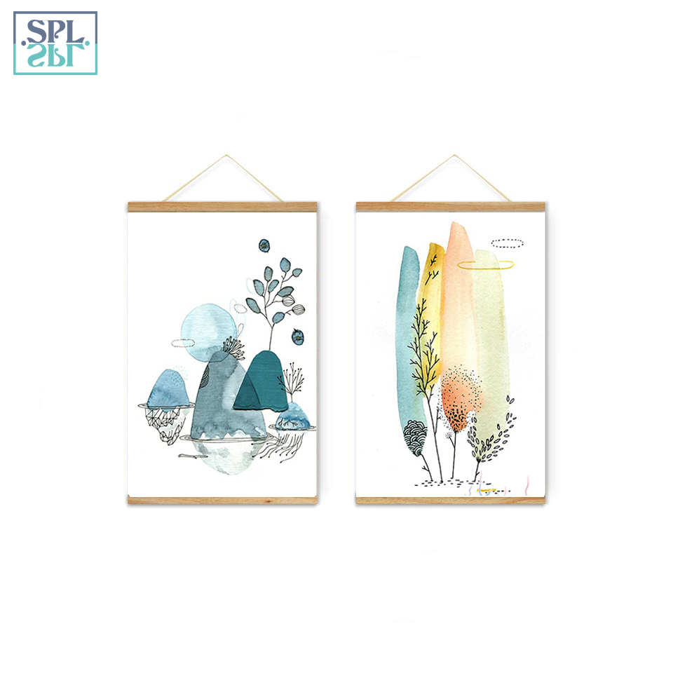 SPLSPL Watercolor Mountain Landscape Nordic Hand Drawn Wall Art Canvas Print Poster and Painting Ornamentation Home Decor Framed