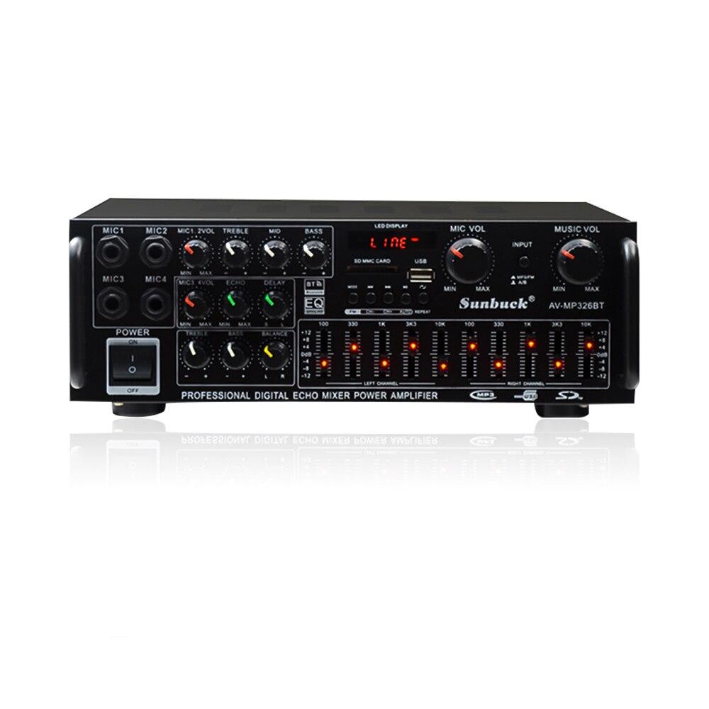 Amplificador Bluetooth Audio Sound Amplifier HiFi Power Home Amplifiers 220V EQ Equalizer Stage Karaoke Four Mic Car Amplifer