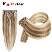 V.Girl Hair Brazilian Machine Made Remy Hair 100G 6/613# Blonde 16inch 22inch Natural Straight Clip In Human Hair Extensions