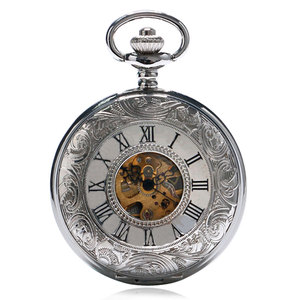 Image 3 - Elegant Hollow Roman Silver Double Shielded Mechanical Pocket Watch For Men Women With Chain Clock Drop Shipping