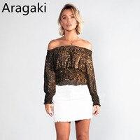 Aragaki long sleeve shirt women blouse chiffon tops long sleeve leopard printed blusas mujer de moda LN116