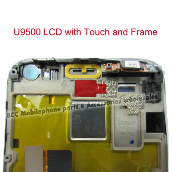 Original LCD Display +touch screen digitizer +Frame for Huawei Ascend D1 U9500 Original replacement Completely  5pcs/lot original lcd for huawei p7 ascend lcd display touch screen assembly 5 inch lcd replacement without frame free tools