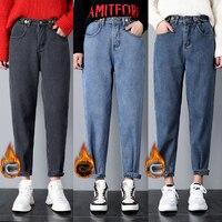 New Arrived Winter Thicken Boyfriend Jeans Women High Waist Loose Mom Jeans Lady Casual Harem Pants Velvet Plus Size