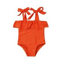 Toddler Kid Baby Girls Bikini Set Swimwear Swimsuit Orange Bandage One Piece Bathing Beachwear Swimming Clothes цена