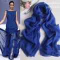 Brand designer 100% natural pure silk scarf for women New fashion solid navy blue silk pashmina long chiffon georgette scarves
