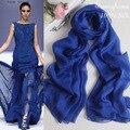 Designer de marca 100% natural puro lenço de seda para as mulheres de moda de Nova sólidos pashmina de seda azul marinho longo chiffon georgette cachecóis