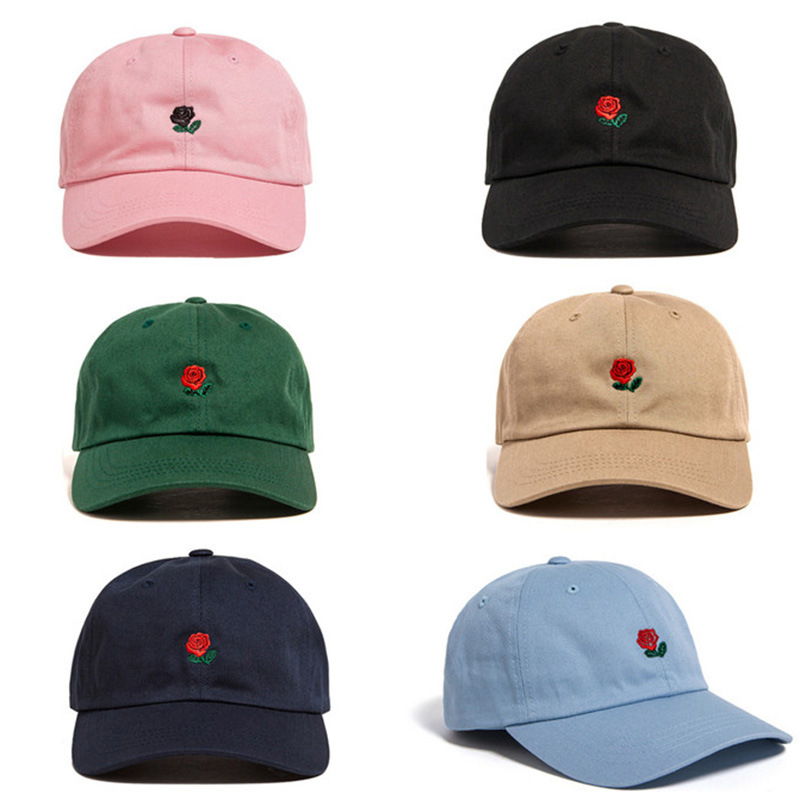Sale Women Man Couples Adjustable The Hundreds Rose Flower Embroidered Baseball Cap Casual Cool Harajuku Style Hiphop Visor Hat