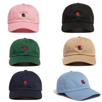цена на Sale Women Man Couples Adjustable The Hundreds Rose Flower Embroidered Baseball Cap Casual Cool Harajuku style Hiphop Visor Hat
