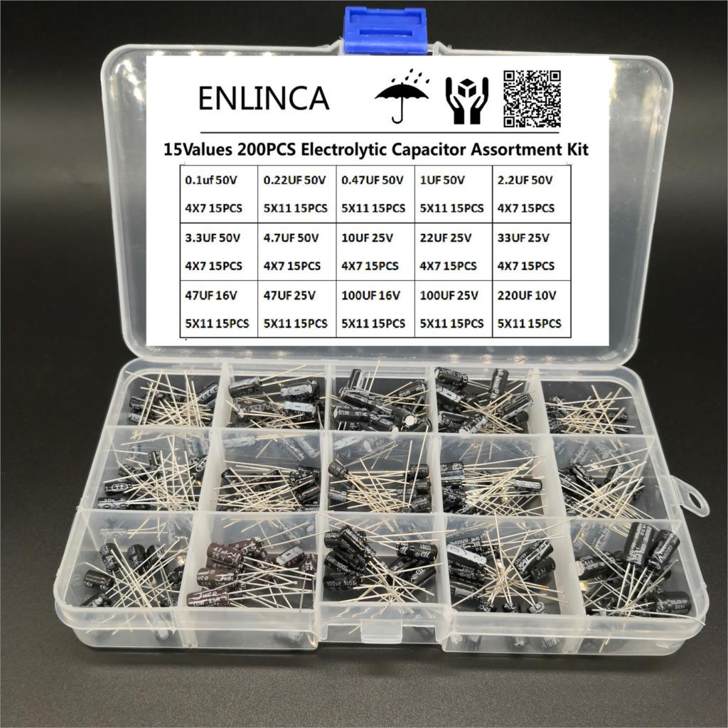 200pcs/lot Radial capacitors set 15Values <font><b>10V</b></font> 16V 25V 50V 0.1uF-220uF Electrolytic Capacitor Assortment Kit 0.22uf 2.2uf <font><b>100uf</b></font> image